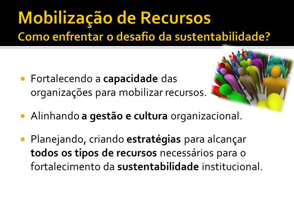 Fortalecendo a capacidade das organizações para mobilizar recursos.