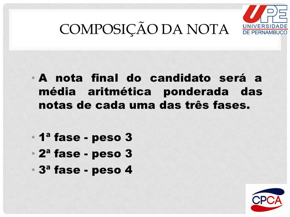 COMPOSIÇÃO DA NOTA A nota final do candidato será a média aritmética ponderada das notas de cada uma das três fases. 1ª fase - peso 3 2ª fase - peso 3