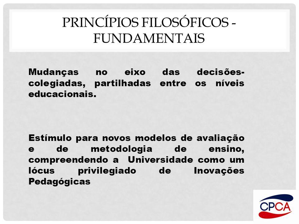 PRINCÍPIOS FILOSÓFICOS - FUNDAMENTAIS Mudanças no eixo das decisões- colegiadas, partilhadas entre os níveis educacionais. Estímulo para novos modelos