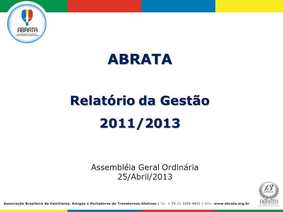 ABRATA Relatório da Gestão 2011/2013 Assembléia Geral Ordinária 25/Abril/2013