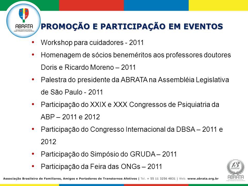 PROMOÇÃO E PARTICIPAÇÃO EM EVENTOS Workshop para cuidadores - 2011 Homenagem de sócios beneméritos aos professores doutores Doris e Ricardo Moreno – 2