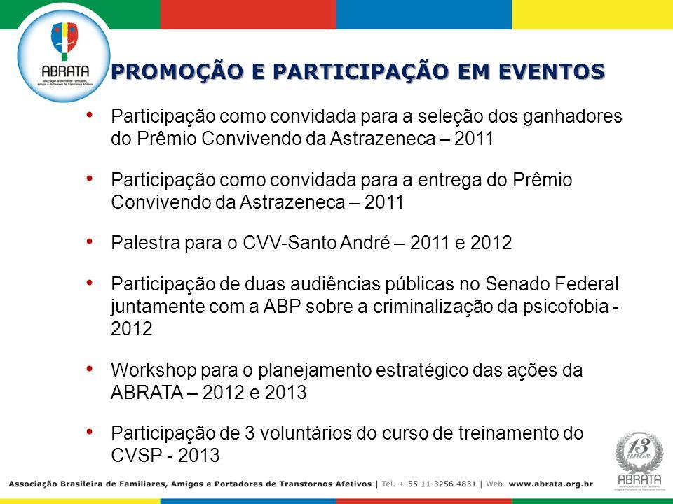 PROMOÇÃO E PARTICIPAÇÃO EM EVENTOS Participação como convidada para a seleção dos ganhadores do Prêmio Convivendo da Astrazeneca – 2011 Participação c