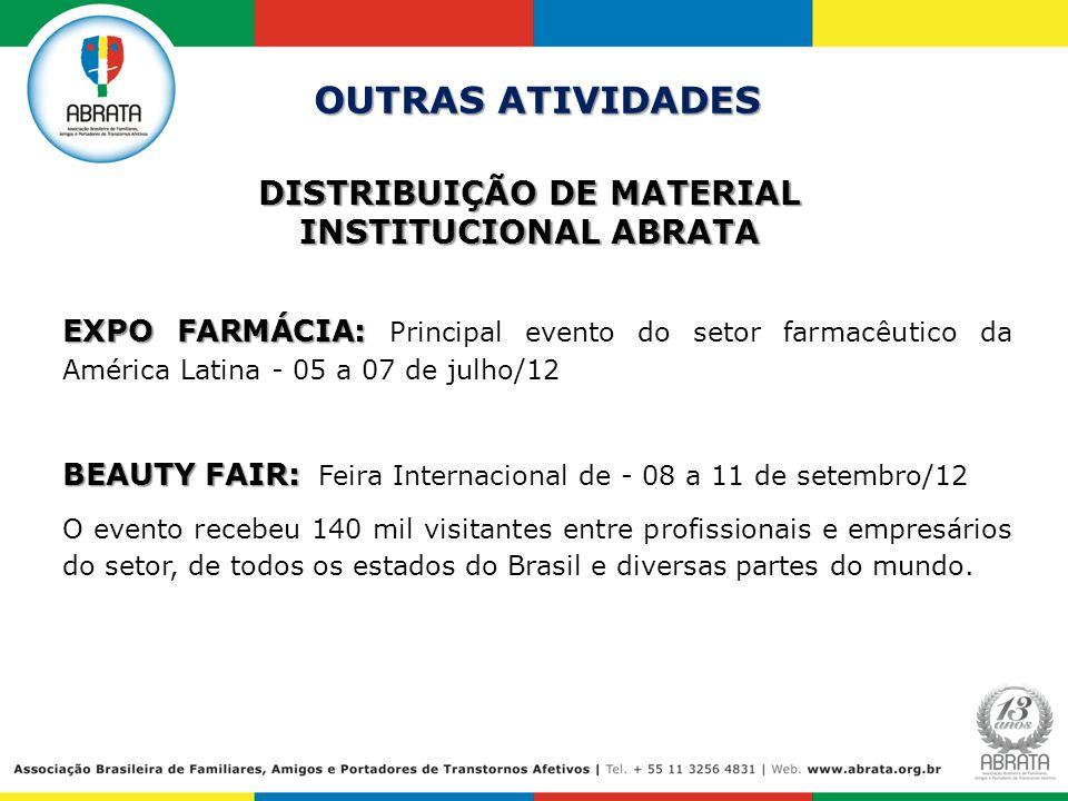 DISTRIBUIÇÃO DE MATERIAL INSTITUCIONAL ABRATA OUTRAS ATIVIDADES EXPO FARMÁCIA: EXPO FARMÁCIA: Principal evento do setor farmacêutico da América Latina