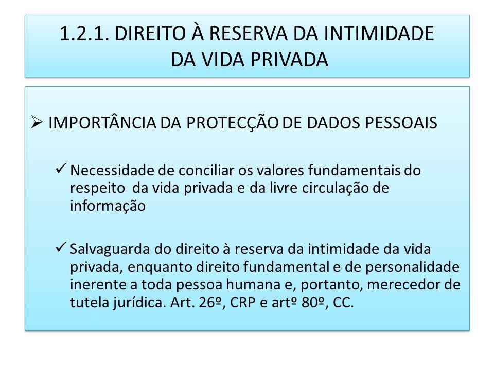 1.2.1. DIREITO À RESERVA DA INTIMIDADE DA VIDA PRIVADA IMPORTÂNCIA DA PROTECÇÃO DE DADOS PESSOAIS Necessidade de conciliar os valores fundamentais do