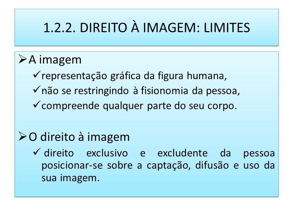 1.2.2. DIREITO À IMAGEM: LIMITES A imagem representação gráfica da figura humana, não se restringindo à fisionomia da pessoa, compreende qualquer part
