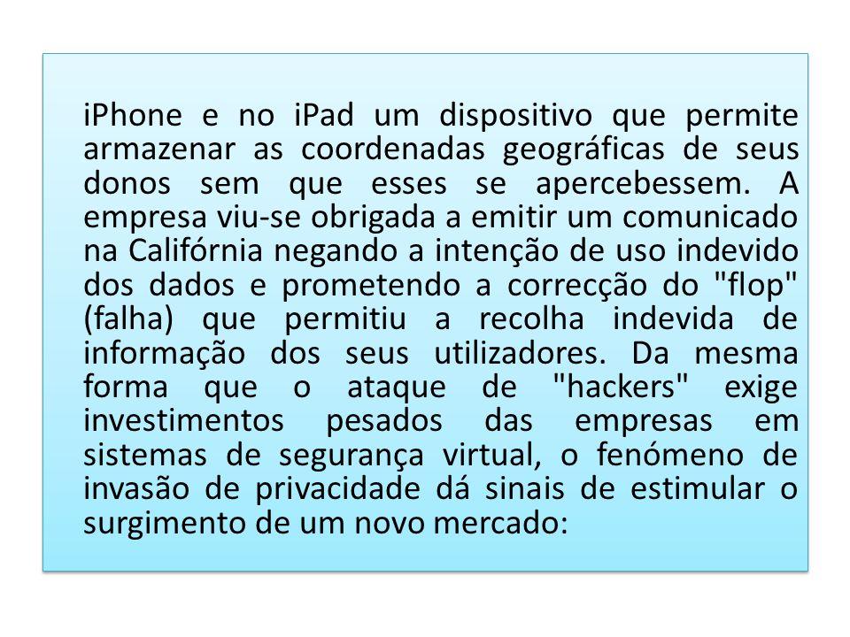 iPhone e no iPad um dispositivo que permite armazenar as coordenadas geográficas de seus donos sem que esses se apercebessem. A empresa viu-se obrigad
