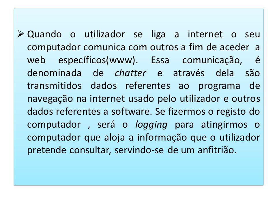 Quando o utilizador se liga a internet o seu computador comunica com outros a fim de aceder a web específicos(www). Essa comunicação, é denominada de