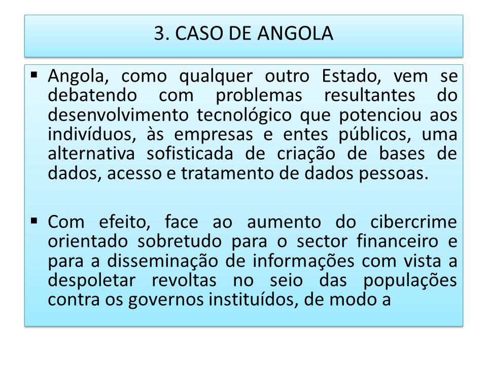 3. CASO DE ANGOLA Angola, como qualquer outro Estado, vem se debatendo com problemas resultantes do desenvolvimento tecnológico que potenciou aos indi