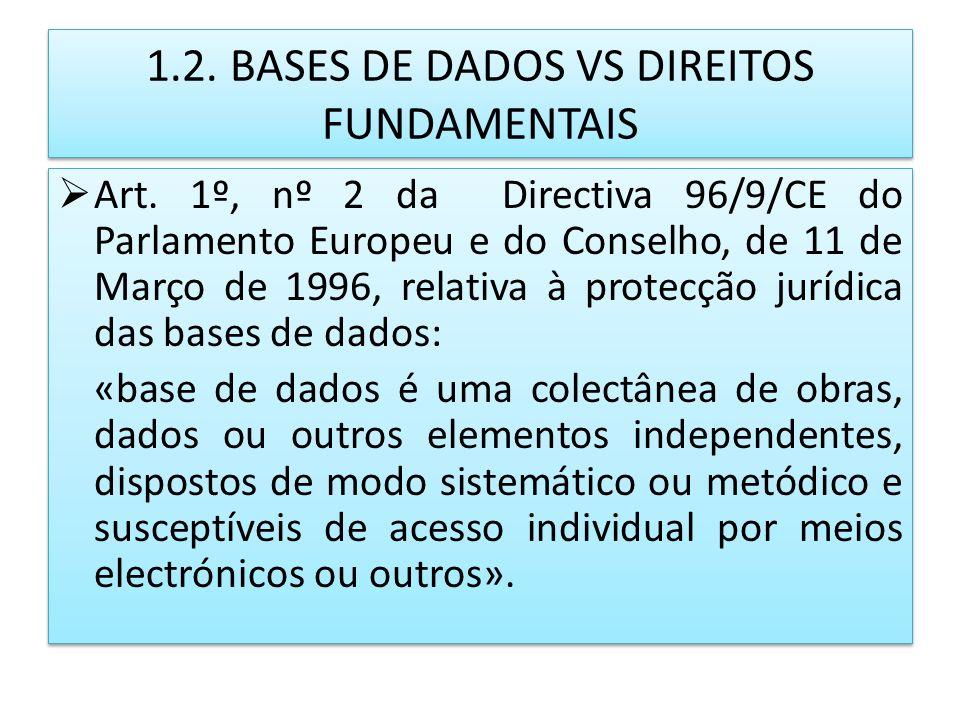 1.2. BASES DE DADOS VS DIREITOS FUNDAMENTAIS Art. 1º, nº 2 da Directiva 96/9/CE do Parlamento Europeu e do Conselho, de 11 de Março de 1996, relativa