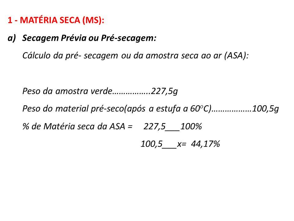 1 - MATÉRIA SECA (MS): a)Secagem Prévia ou Pré-secagem: Cálculo da pré- secagem ou da amostra seca ao ar (ASA): Peso da amostra verde……………..227,5g Pes