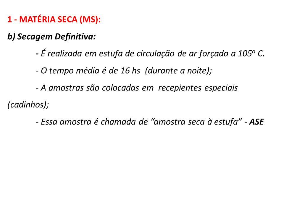 1 - MATÉRIA SECA (MS): b) Secagem Definitiva: - É realizada em estufa de circulação de ar forçado a 105 o C. - O tempo média é de 16 hs (durante a noi