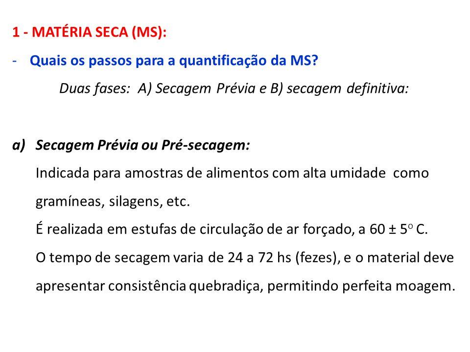 1 - MATÉRIA SECA (MS): -Quais os passos para a quantificação da MS? Duas fases: A) Secagem Prévia e B) secagem definitiva: a)Secagem Prévia ou Pré-sec