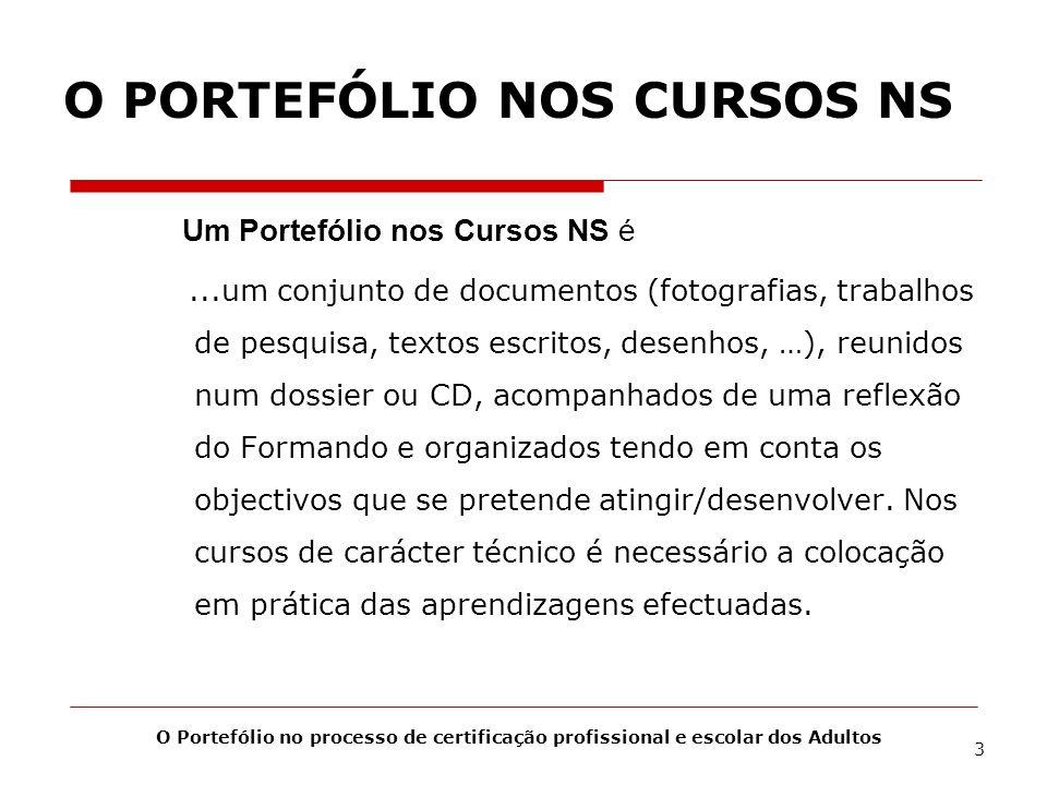 O PORTEFÓLIO NOS CURSOS NS Um Portefólio nos Cursos NS é...um conjunto de documentos (fotografias, trabalhos de pesquisa, textos escritos, desenhos, …