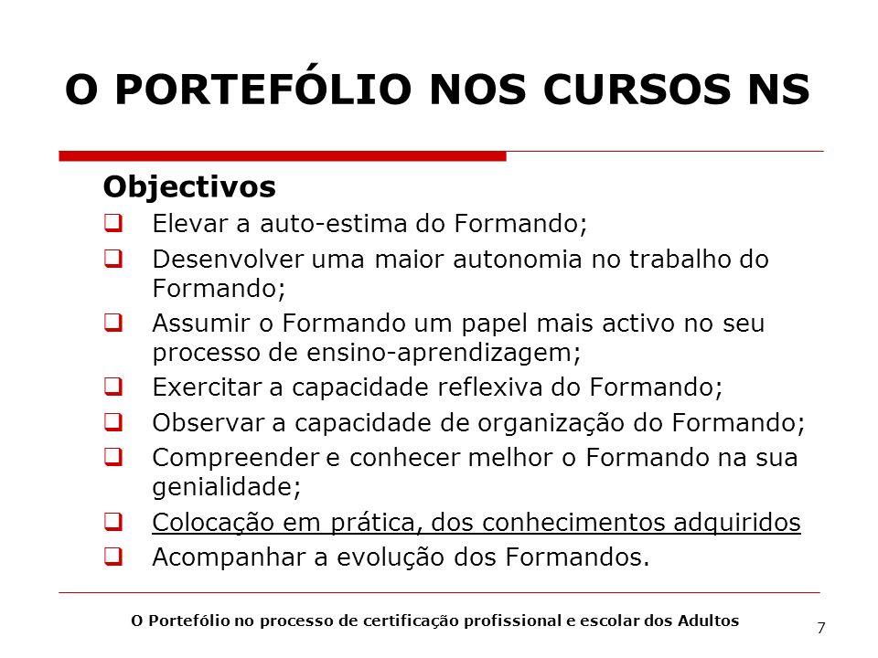 O PORTEFÓLIO NOS CURSOS NS Objectivos Elevar a auto-estima do Formando; Desenvolver uma maior autonomia no trabalho do Formando; Assumir o Formando um