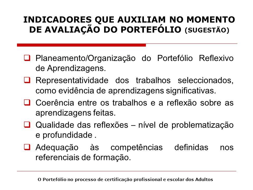 INDICADORES QUE AUXILIAM NO MOMENTO DE AVALIAÇÃO DO PORTEFÓLIO (SUGESTÃO) Planeamento/Organização do Portefólio Reflexivo de Aprendizagens. Representa