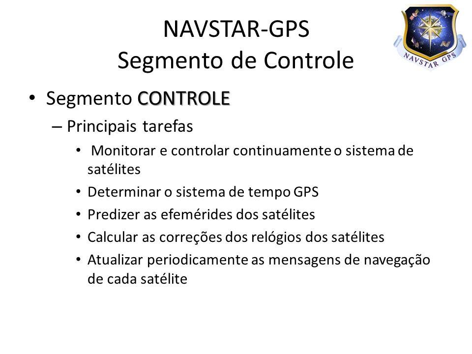 CONTROLE Segmento CONTROLE – Principais tarefas Monitorar e controlar continuamente o sistema de satélites Determinar o sistema de tempo GPS Predizer