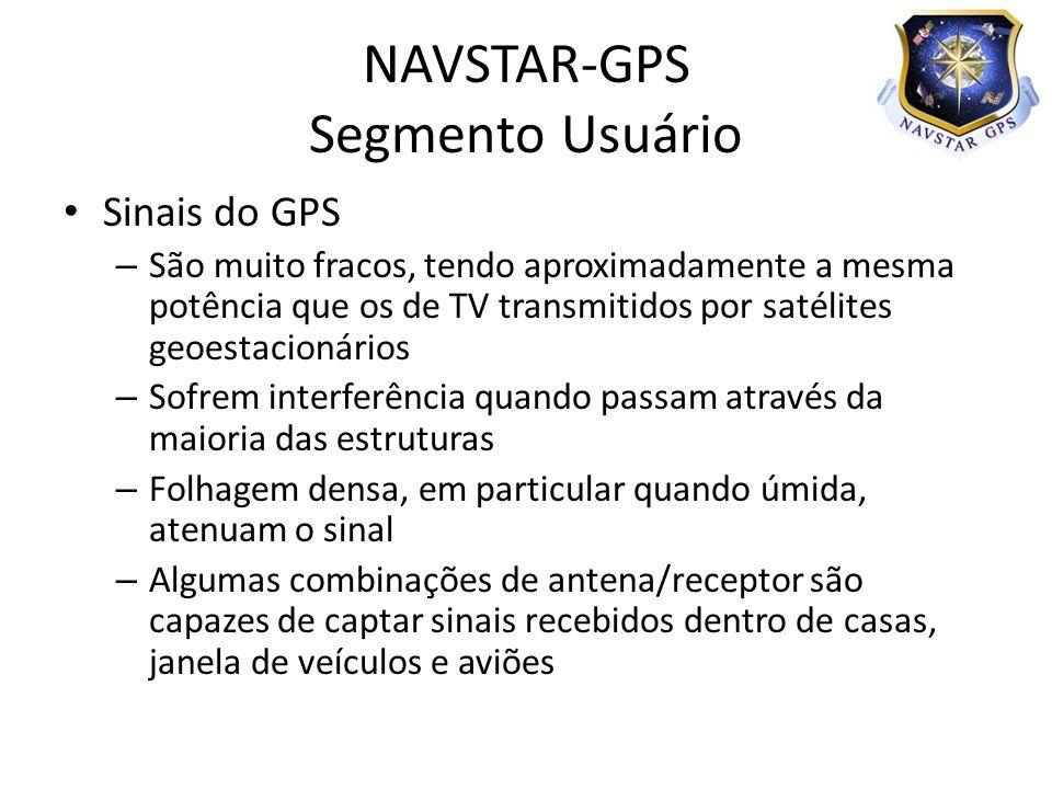Sinais do GPS – São muito fracos, tendo aproximadamente a mesma potência que os de TV transmitidos por satélites geoestacionários – Sofrem interferênc
