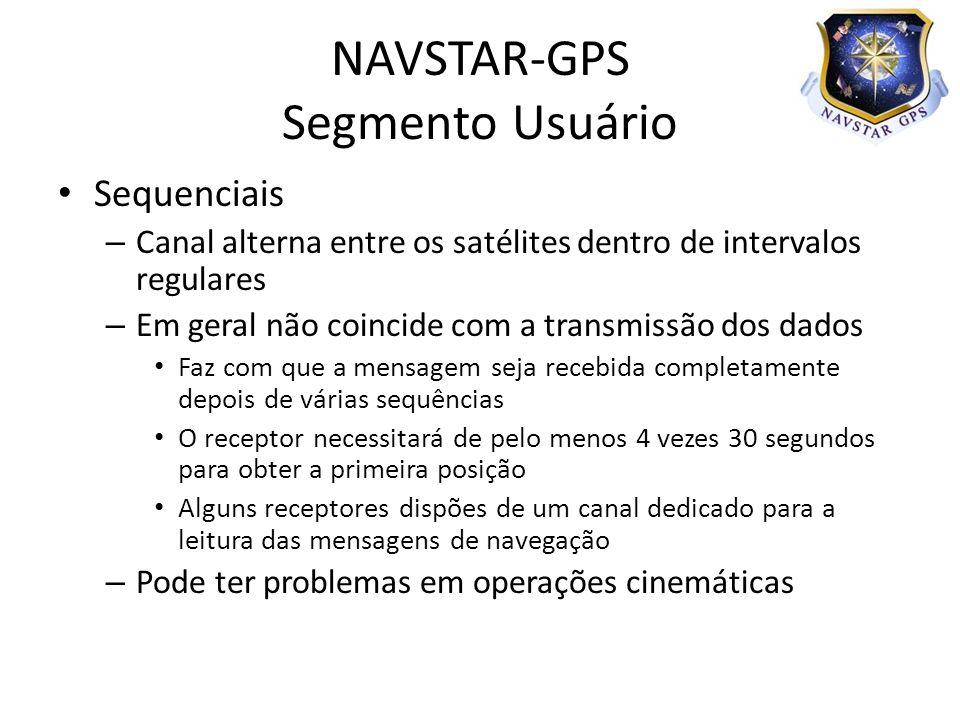Sequenciais – Canal alterna entre os satélites dentro de intervalos regulares – Em geral não coincide com a transmissão dos dados Faz com que a mensag