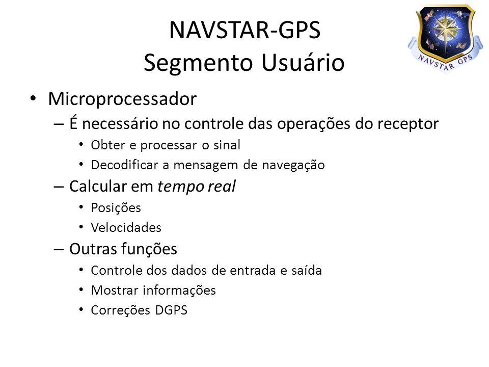 Microprocessador – É necessário no controle das operações do receptor Obter e processar o sinal Decodificar a mensagem de navegação – Calcular em temp