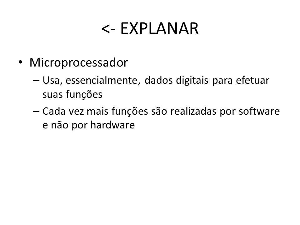 Microprocessador – Usa, essencialmente, dados digitais para efetuar suas funções – Cada vez mais funções são realizadas por software e não por hardwar