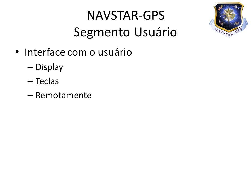 Interface com o usuário – Display – Teclas – Remotamente NAVSTAR-GPS Segmento Usuário