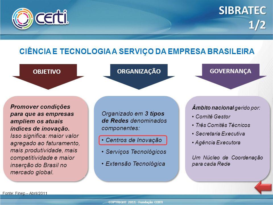 COPYRIGHT 2011 - Fundação CERTI CIÊNCIA E TECNOLOGIA A SERVIÇO DA EMPRESA BRASILEIRA OBJETIVO ORGANIZAÇÃO GOVERNANÇA Promover condições para que as em