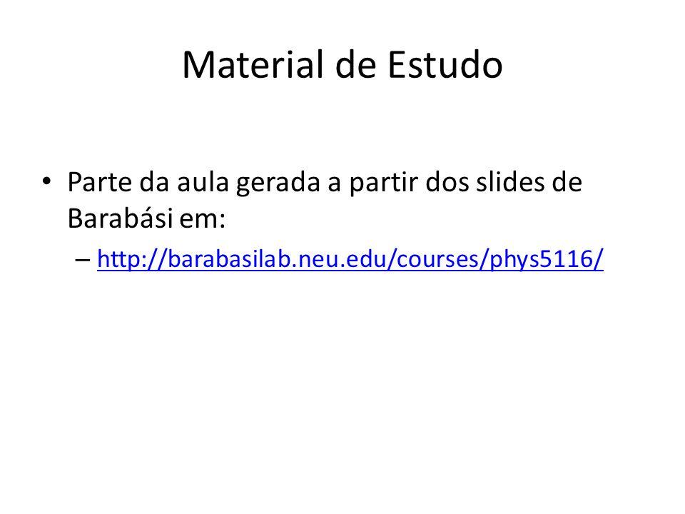 Material de Estudo Parte da aula gerada a partir dos slides de Barabási em: – http://barabasilab.neu.edu/courses/phys5116/ http://barabasilab.neu.edu/courses/phys5116/
