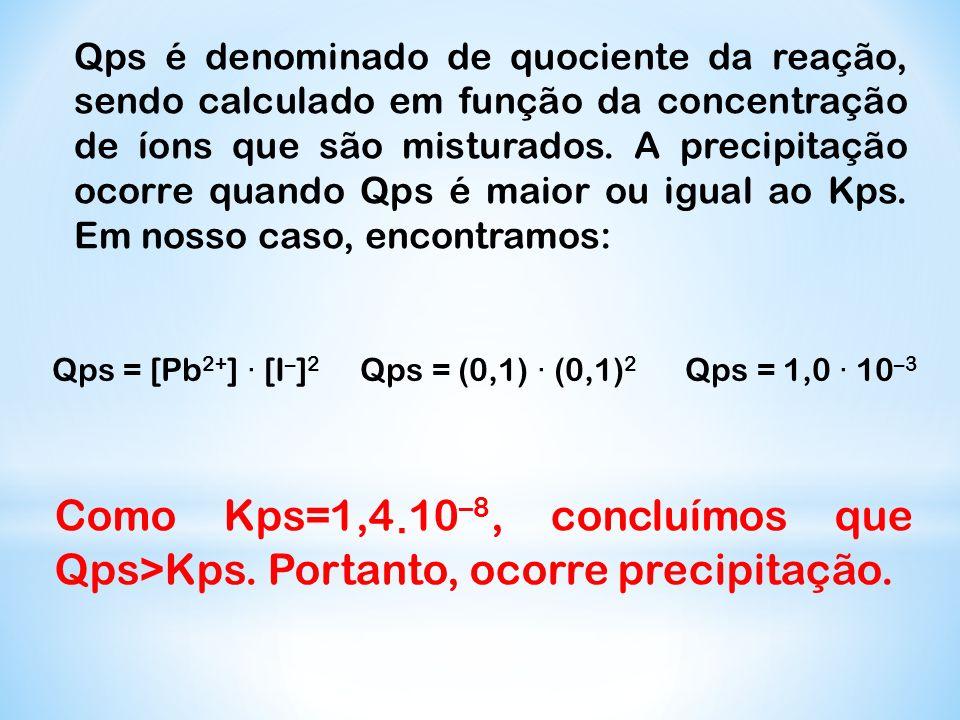 Qps é denominado de quociente da reação, sendo calculado em função da concentração de íons que são misturados. A precipitação ocorre quando Qps é maio