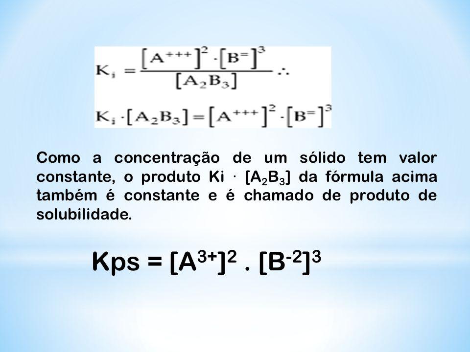 Como a concentração de um sólido tem valor constante, o produto Ki · [A 2 B 3 ] da fórmula acima também é constante e é chamado de produto de solubili