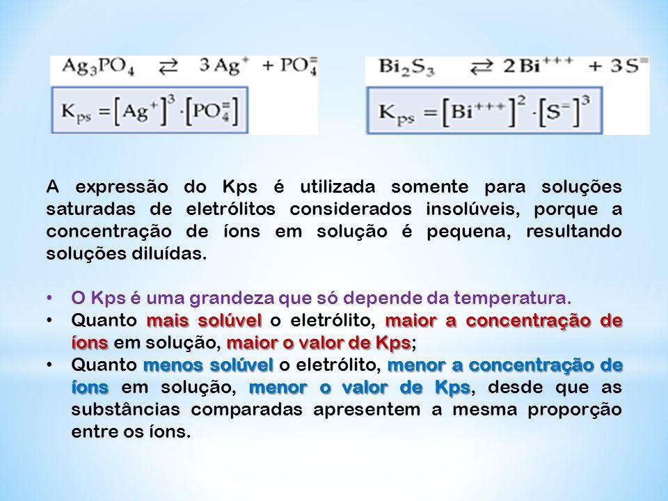 A expressão do Kps é utilizada somente para soluções saturadas de eletrólitos considerados insolúveis, porque a concentração de íons em solução é pequ