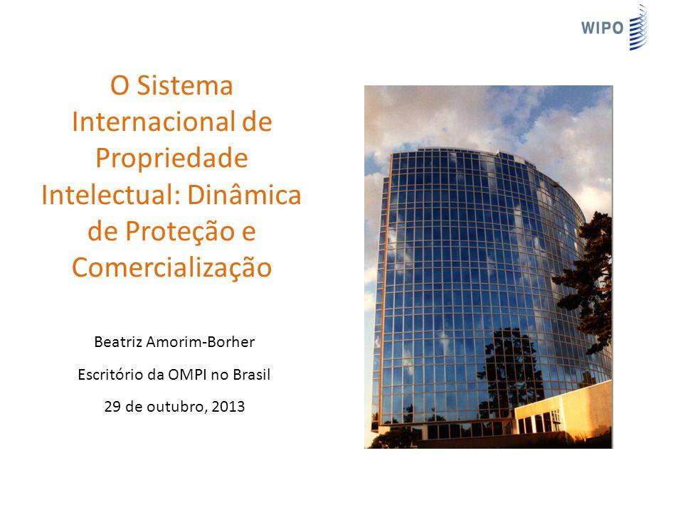 O Sistema Internacional de Propriedade Intelectual: Dinâmica de Proteção e Comercialização Beatriz Amorim-Borher Escritório da OMPI no Brasil 29 de outubro, 2013