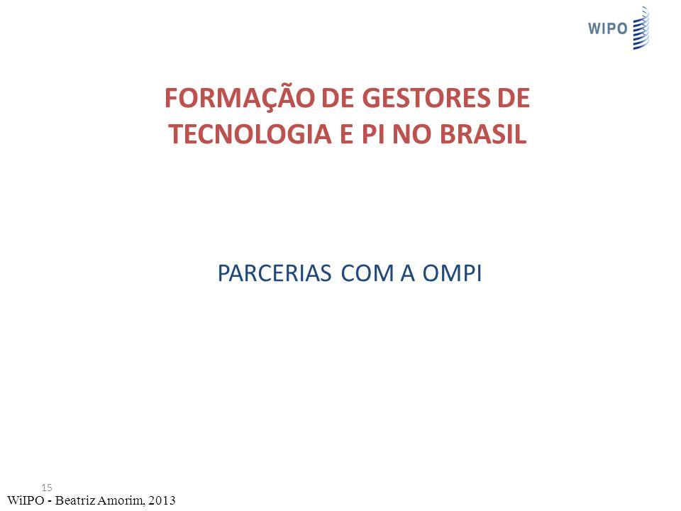 FORMAÇÃO DE GESTORES DE TECNOLOGIA E PI NO BRASIL PARCERIAS COM A OMPI 15 WiIPO - Beatriz Amorim, 2013