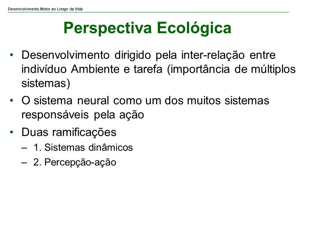 Desenvolvimento Motor ao Longo da Vida Perspectiva Ecológica Desenvolvimento dirigido pela inter-relação entre indivíduo Ambiente e tarefa (importânci