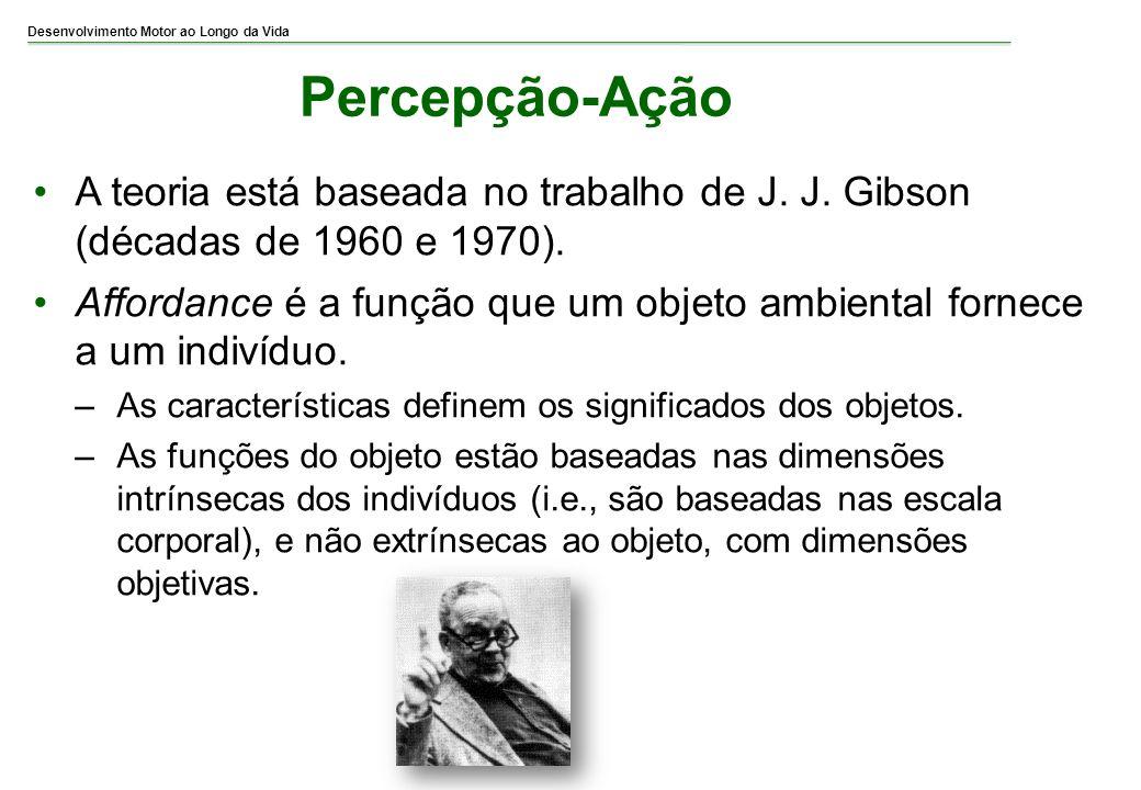 Desenvolvimento Motor ao Longo da Vida Percepção-Ação A teoria está baseada no trabalho de J. J. Gibson (décadas de 1960 e 1970). Affordance é a funçã