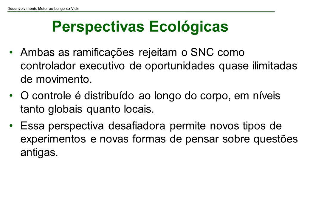 Desenvolvimento Motor ao Longo da Vida Perspectivas Ecológicas Ambas as ramificações rejeitam o SNC como controlador executivo de oportunidades quase