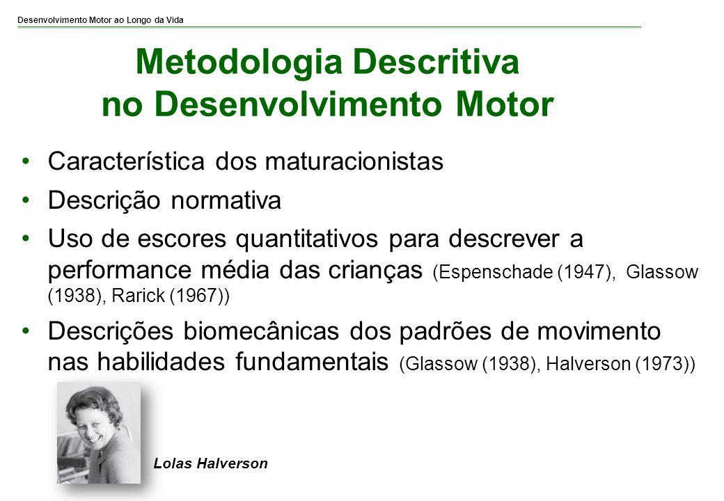 Desenvolvimento Motor ao Longo da Vida Metodologia Descritiva no Desenvolvimento Motor Característica dos maturacionistas Descrição normativa Uso de e