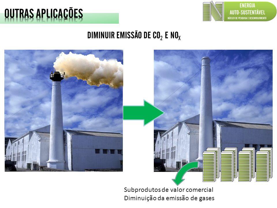 DIMINUIR EMISSÃO DE CO 2 E NO X Subprodutos de valor comercial Diminuição da emissão de gases