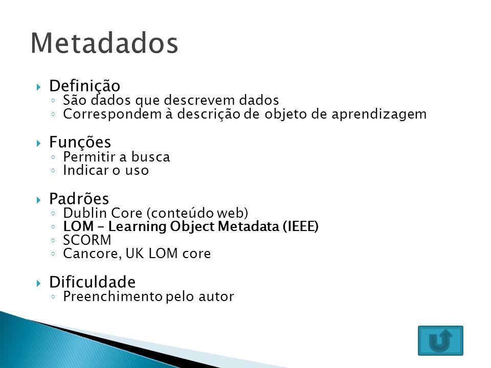 Objetos de aprendizagem precisam ser armazenados de modo que seus potenciais usuários possam encontrá-los e reusá-los Descrição dos objetos Integração com AVAs Integração de repositórios