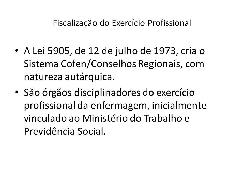 Fiscalização do Exercício Profissional A Lei 5905, de 12 de julho de 1973, cria o Sistema Cofen/Conselhos Regionais, com natureza autárquica. São órgã