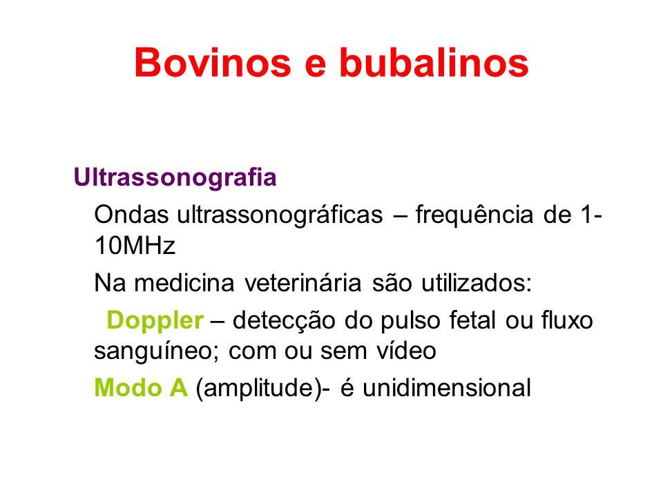 Bovinos e bubalinos Ultrassonografia Ondas ultrassonográficas – frequência de 1- 10MHz Na medicina veterinária são utilizados: Doppler – detecção do p