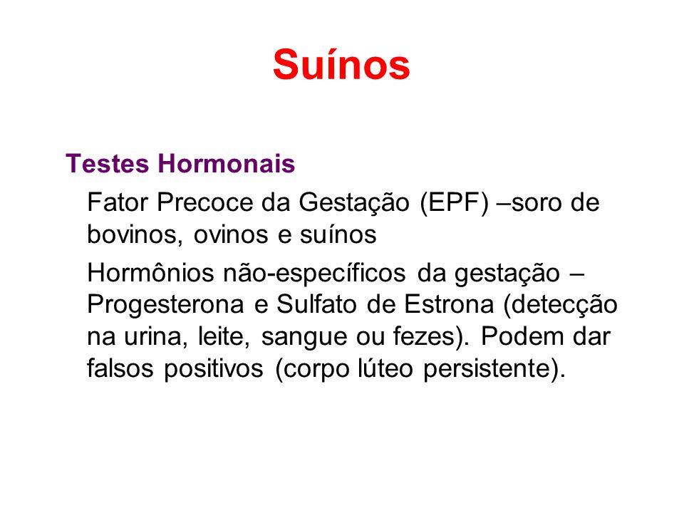 Suínos Testes Hormonais Fator Precoce da Gestação (EPF) –soro de bovinos, ovinos e suínos Hormônios não-específicos da gestação – Progesterona e Sulfa