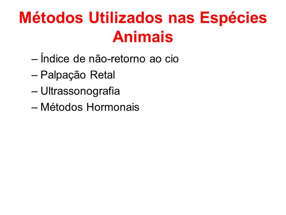 Suínos Testes Hormonais Fator Precoce da Gestação (EPF) –soro de bovinos, ovinos e suínos Hormônios não-específicos da gestação – Progesterona e Sulfato de Estrona (detecção na urina, leite, sangue ou fezes).