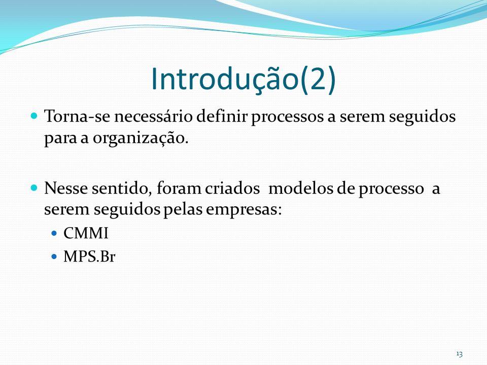 Introdução(2) Torna-se necessário definir processos a serem seguidos para a organização. Nesse sentido, foram criados modelos de processo a serem segu