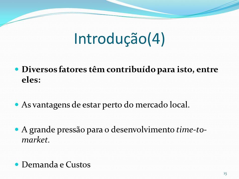 Introdução(4) Diversos fatores têm contribuído para isto, entre eles: As vantagens de estar perto do mercado local. A grande pressão para o desenvolvi