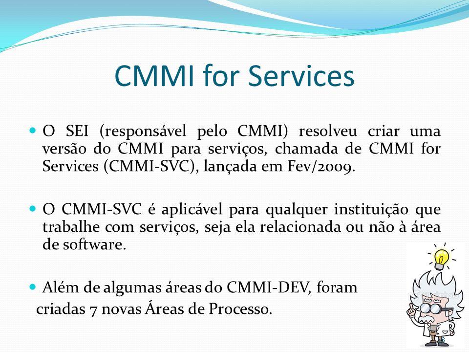 CMMI for Services O SEI (responsável pelo CMMI) resolveu criar uma versão do CMMI para serviços, chamada de CMMI for Services (CMMI-SVC), lançada em F