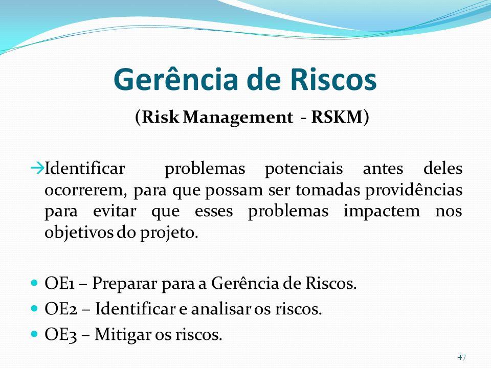 Gerência de Riscos (Risk Management - RSKM) Identificar problemas potenciais antes deles ocorrerem, para que possam ser tomadas providências para evit