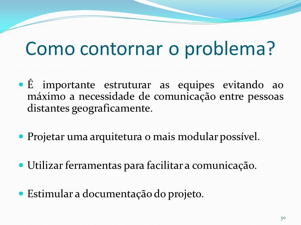 Como contornar o problema? É importante estruturar as equipes evitando ao máximo a necessidade de comunicação entre pessoas distantes geograficamente.