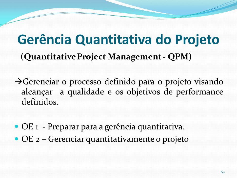Gerência Quantitativa do Projeto (Quantitative Project Management - QPM) Gerenciar o processo definido para o projeto visando alcançar a qualidade e o