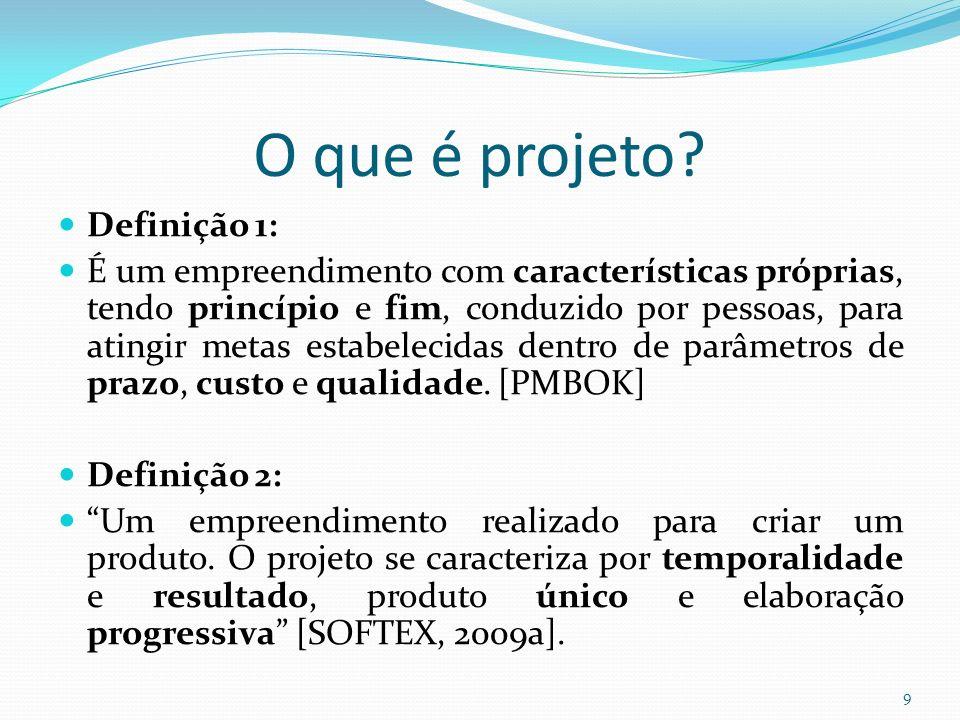 O que é projeto? Definição 1: É um empreendimento com características próprias, tendo princípio e fim, conduzido por pessoas, para atingir metas estab