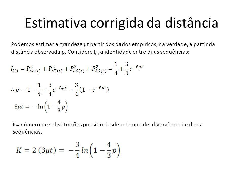 Estimativa corrigida da distância Podemos estimar a grandeza µt partir dos dados empíricos, na verdade, a partir da distância observada p.